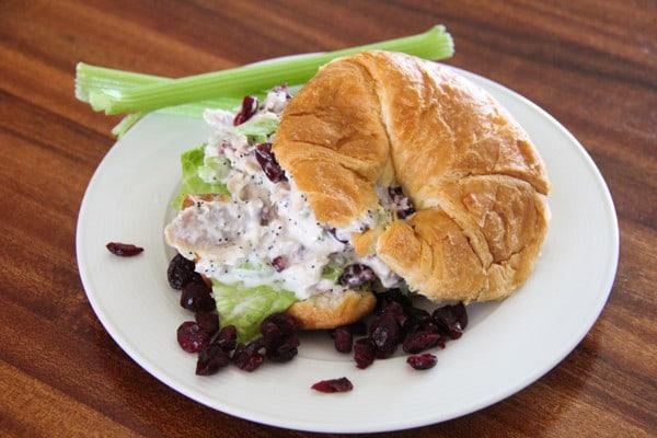 Chicken Salad Sandwich with Craisins and Celery