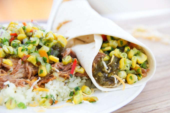 Pork Burrito with Corn Salsa
