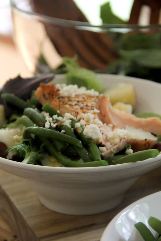 Nicoise Salmon Salad with Potato, Egg, and Salmon